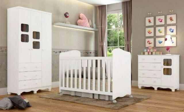 Frete Grátis* Quarto de Bebê Armário, Cômoda e Berço - Uli *NOVO