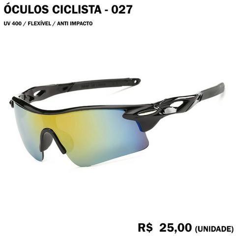 Óculos de Ciclismo 27 (Lente Esverdeada com Armação Preta)