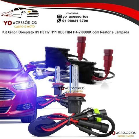 Kit Xênon Completo H1 H3 H7 H11 HB3 HB4 H4-2 8000K com Reator e Lâmpada