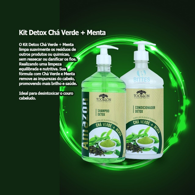 Kit Detox Chá Verde e Menta Para cabelos Oleosos - Foto 4