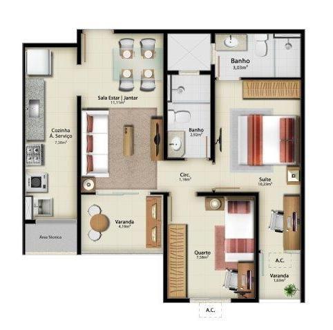 Apartamento para venda em vitória, jardim camburi, 2 dormitórios, 1 suíte, 1 banheiro, 1 v - Foto 13