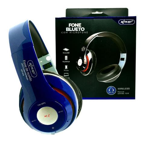 Fone de Ouvido Bluetooth Kp-414 Knup Com Microfone Rádio Fm Micro Sd Mp3