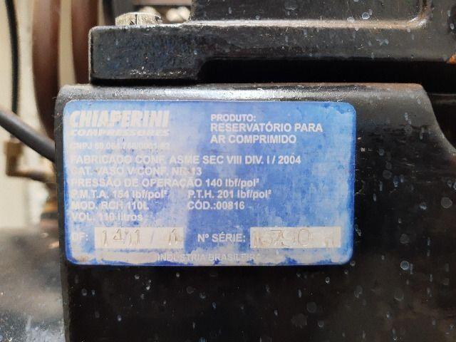 Compressor de ar média pressão 10 pcm 110 litros - Chiaperini 10 MPI 110 L com Motor - Foto 4