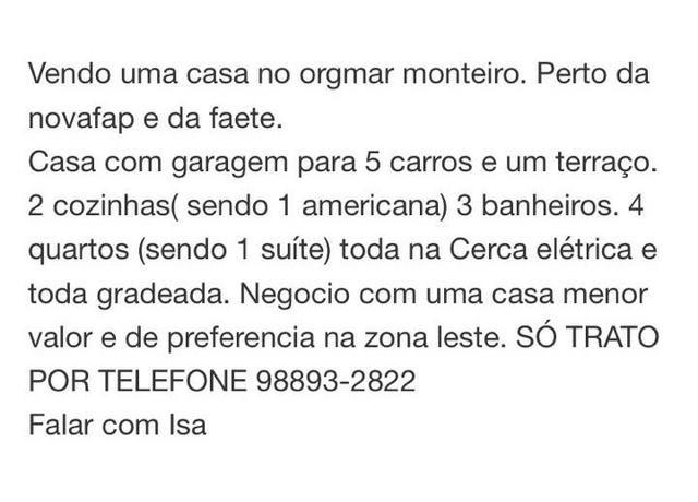 Vendo casa no Orgmar Monteiro