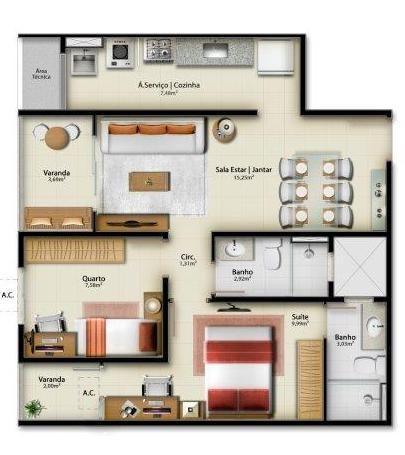 Apartamento para venda em vitória, jardim camburi, 2 dormitórios, 1 suíte, 1 banheiro, 1 v - Foto 14