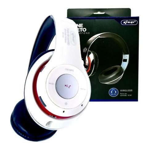 Fone de Ouvido Bluetooth Kp-414 Knup Com Microfone Rádio Fm Micro Sd Mp3 - Foto 2
