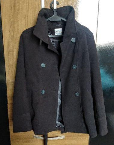 Casaco trench coat preto com botões