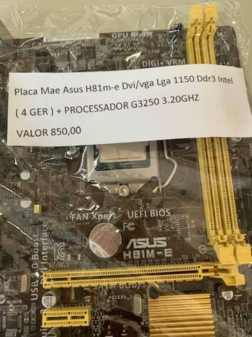 kit Placa Mãe Asus H81M-E Dvi/Vga Lga 1150 ddr3 4ger + proc g3250 3.20Ghz - Foto 3