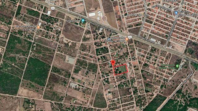 Terreno de 12.592m2 prox BR-406, RN, com casa, piscina e campos de futebol - Foto 2
