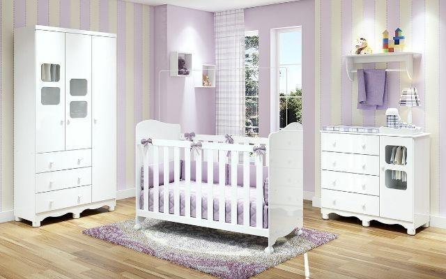 Frete Grátis* Quarto de Bebê Armário, Cômoda e Berço - Uli *NOVO - Foto 2