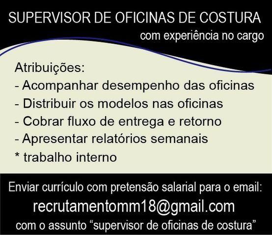 Vaga para Supervisor(a) de Oficina