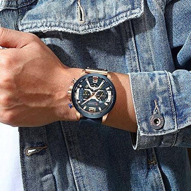 Relógio Curren Azul<br>Luxo - Foto 6