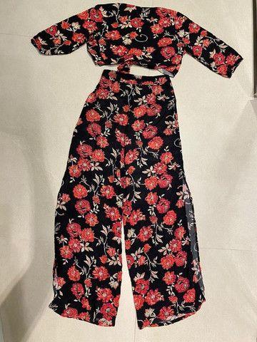 Conjunto Cropped E Pantalona Cintura Alta Florido Bazis