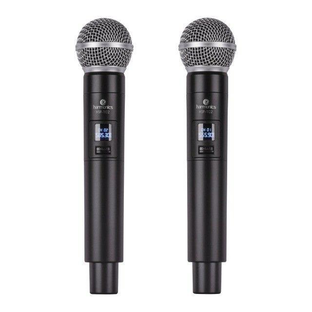 Microfone sem Fio de Mão Duplo uhf HSF-102 Harmonics - Foto 3