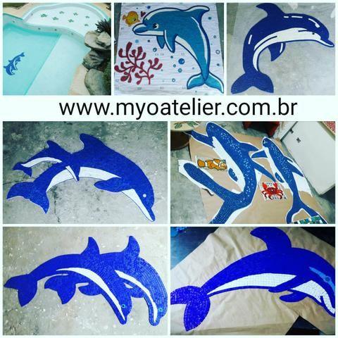 Golfinho Mosaico piscina, mosaico artistico, fundo de piscina, desenho, baleia, tubarão