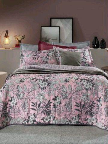Hedrons - Edredom Floral Rosa Casal 1 Peça