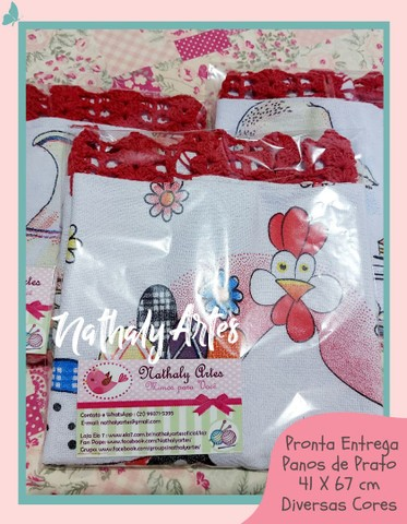 Kit 3 panos de Prato com Barrado em Crochê  - Foto 2