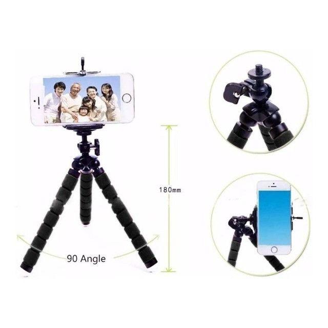Mini Tripé Suporte De Mesa Portátil Escalável Articulado Para Celular Gira Tripe 360º - Foto 3