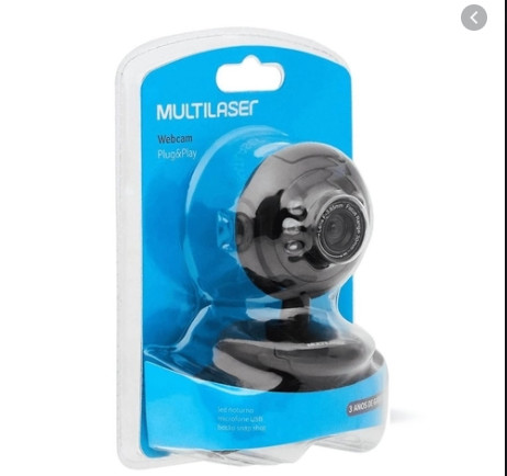 Webcam Multilaser Plug E Play 16Mp Nightvision Microfone Usb Preto - WC045