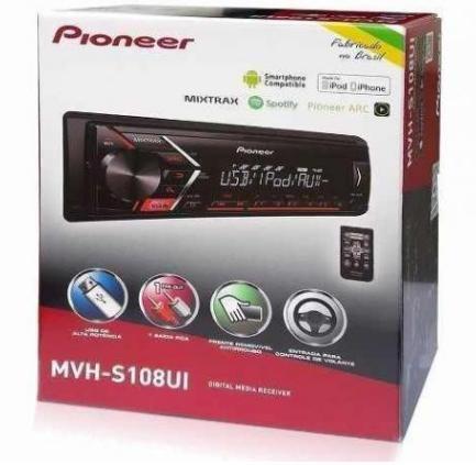 Radio Mp3 pioneer mvh-s108ui controle, androide, ios, Apenas 299,90 instalação grátis