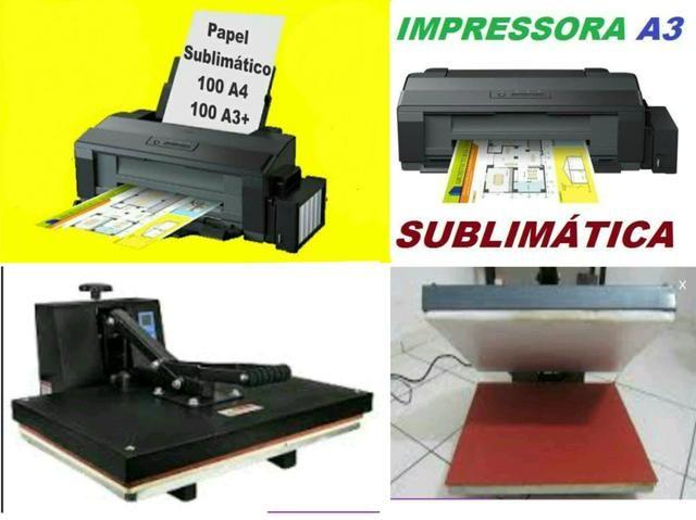 Prensa termica 50x60 e Impressora Epson A3 L1300 Bulk De Fabrica com Tinta Sublimatica