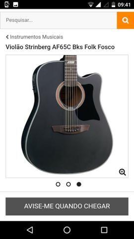 Violão strinberg modelo: AFC65 BKS folk preto fosco de R 800,00 por 430,00 R