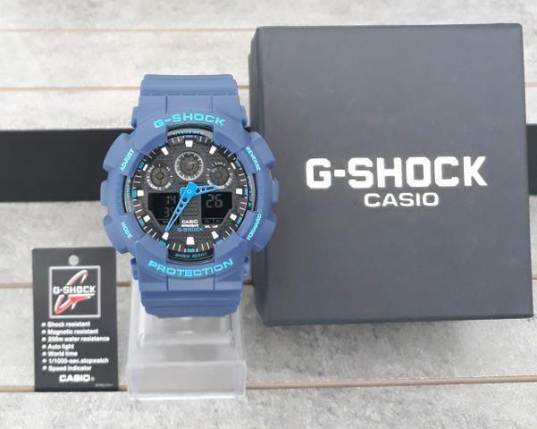 cf3b15551fd Relógio G Shock Azul Visor Preto Novo - Bijouterias