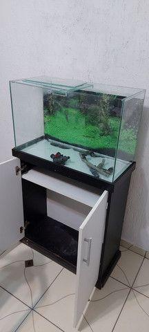 Aquario 100 litros com móvel e filtro canister