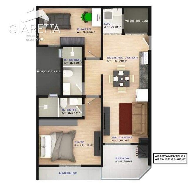 Apartamento com 2 dormitórios à venda,73.71 m², JARDIM SANTA MARIA, TOLEDO - PR - Foto 5