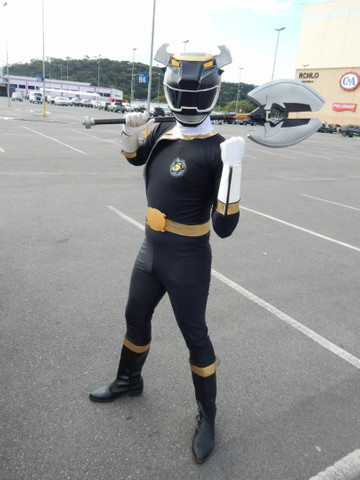 Cosplay Power Ranger preto força animal - Foto 2