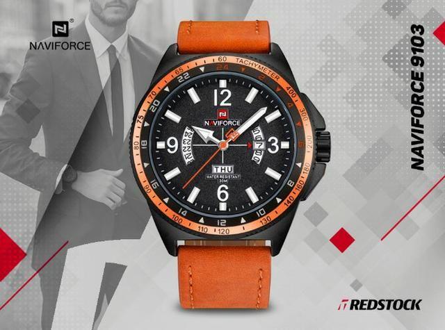 Relógio Naviforce 9103 Masculino Couro - Laranja
