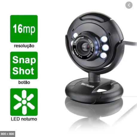 Webcam Multilaser Plug E Play 16Mp Nightvision Microfone Usb Preto - WC045 - Foto 2