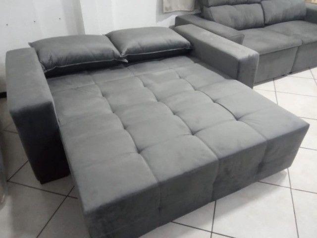 Sofá cama 1,80L tecido suede - Foto 2