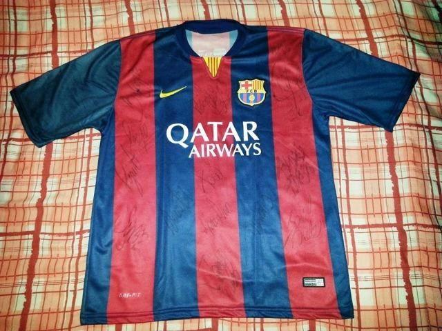 d72f4df47056a Camisa Barcelona Autografada Por Messi
