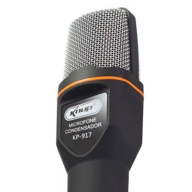 microfone condensador com tripé - Foto 3