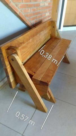 Mesa/banco de madeira cambará