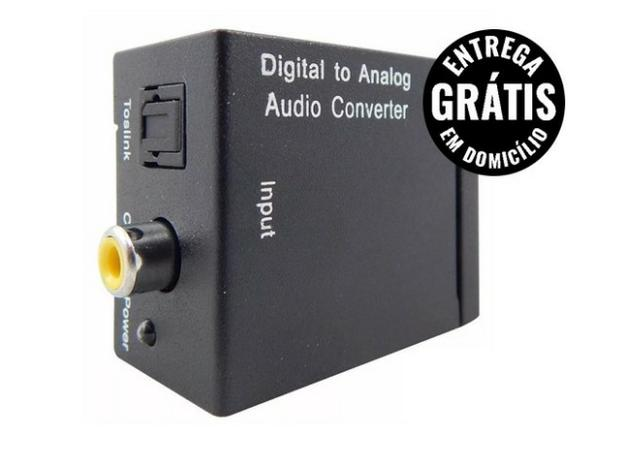 Adaptador conversor de áudio ótico para analógico rca marca toslink - entrega grátis