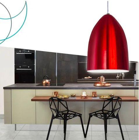Luminária Lustre Pendente De Alumínio Bala Vermelho