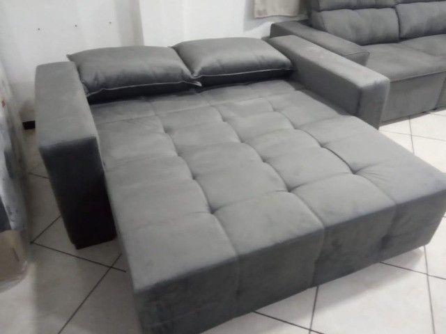 Sofá cama 1,80L tecido suede - Foto 3