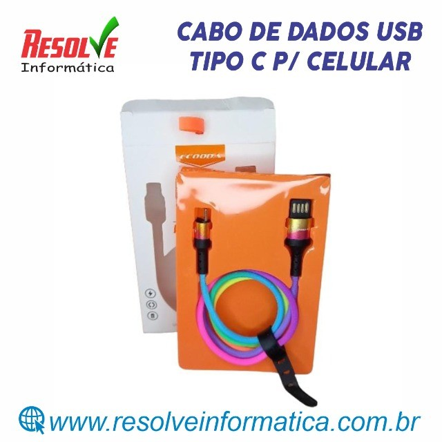 Cabo de Dados USB Tipo C Ecooda - Novíssimo
