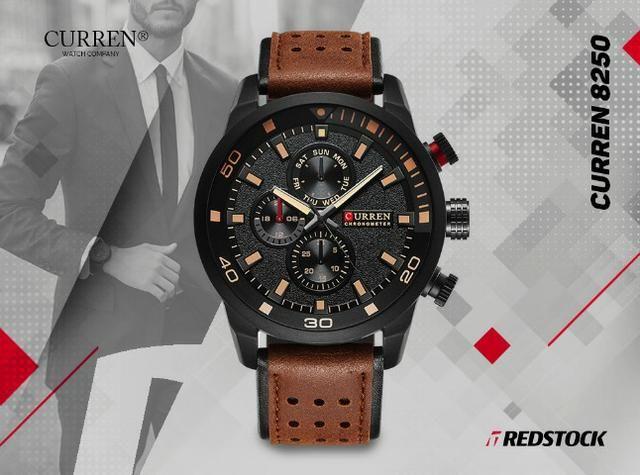 Relógio Curren 8250 Masculino Couro - Marrom