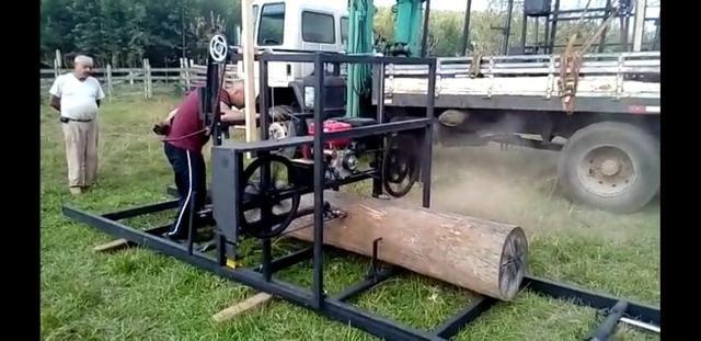 Serra tora 1m , trilho 6m, motor 17hp PE, engenho, serraria portátil - Foto 4