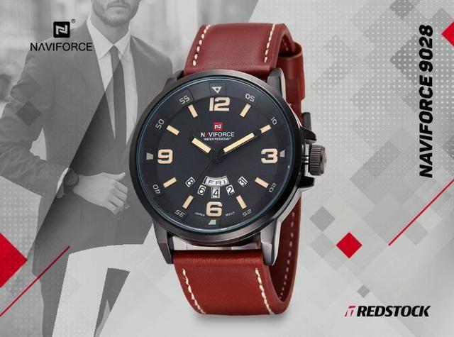 Relógio Naviforce 9028 Masculino Couro - Marrom
