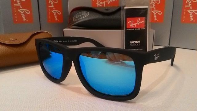 5cb11090a ... official hot Óculos de sol ray ban justin espelhado azul 4165 polarizado  unissex foto 5 df85f
