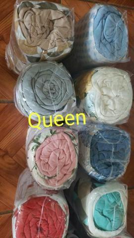 Lençol pra cama queen com 3 peças de algodáo - Foto 2