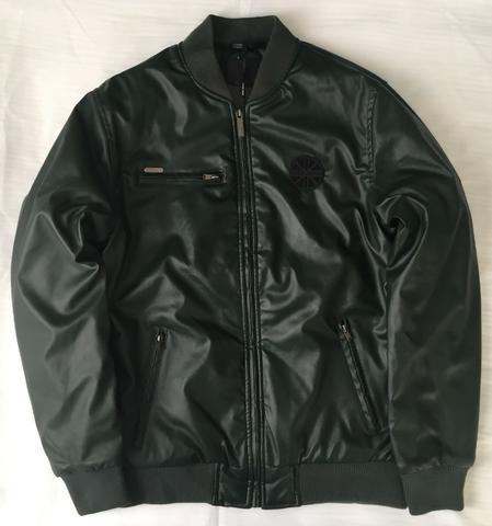 Jaqueta de Couro Masculina Dixie Cor Verde Sem Capuz Produto Novo Com Excelente Qualidade