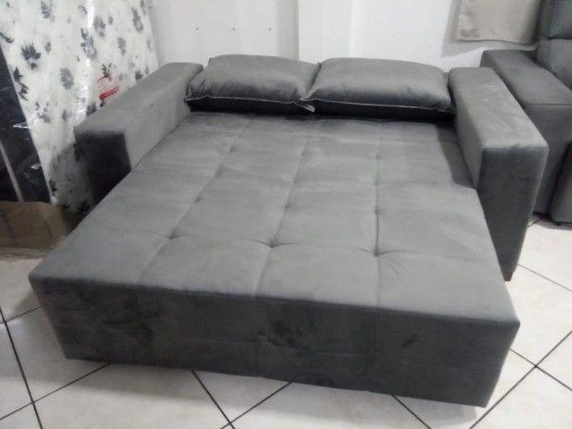 Sofá cama 1,80L tecido suede