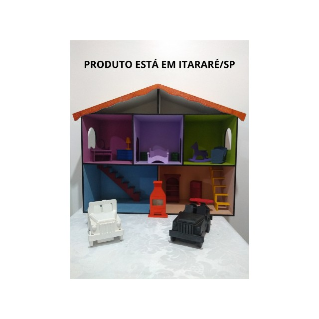 Casinha de boneca em MDF pintada e mobiliada *O produto está em Itararé/SP - Foto 2