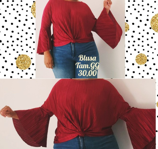 Bazar Blusa Vinho canelada GG Veste do 46 a 50 Plus Size