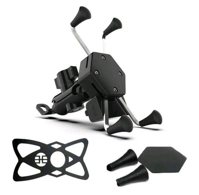 Suporte Carregador Celular Gps Moto /Fixa Retrovisor / Guidom - Foto 4